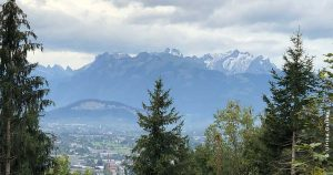 Kurz vor dem Ziel in Watzenegg hatten wir einen traumhaften Ausblick auf den Säntis und die Schweizer Bergle